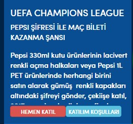 Pepsi UEFA Şampiyonlar Ligi bileti